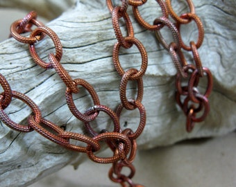 Copper Oval Cable Chain, Flame Patina, Bulk Chain by the Foot