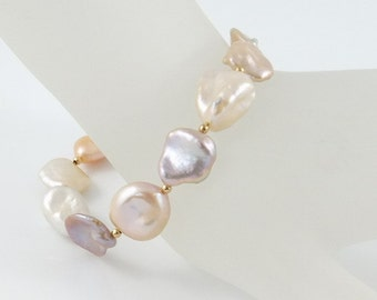 Pearl bracelet, keshi, freshwater, bridal jewelry, handcrafted, gold: by Simply Adorned
