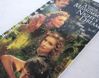 Upcycled Notebook/Recycled Notebook from William Shakespeare's A Midsummer Night's Dream VHS box, 50 sheets/100 pages