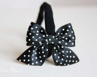 SALE - Satin Bow Headband - Satin Black Polka Dot Side Bow Handmade Baby to Adult Headband