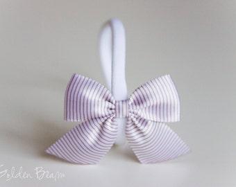 SALE - Satin Bow Headband - Satin White Striped Side Bow Handmade Baby to Adult Headband