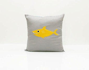 Shark Pillow Cover - Yellow/Gold (Pillow Insert Included) - Ready To Ship