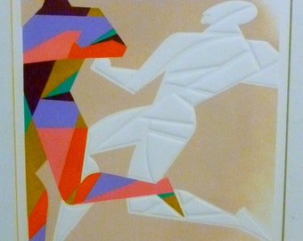 Jerome Rettich Abstract Modern Art Pochoir Embossed Painting Print White Shadow Running Man