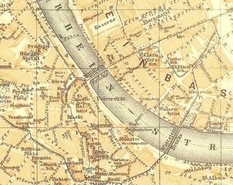 1911 City Map of Basel, Switzerland,  Karl Baedeker Street Plan