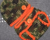 Little Hunter Camo and Orange Baby Diaper Cover and Baby Hat Set-  Baby Shower Gift,