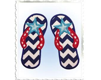 Applique Star Flip Flops Machine Embroidery Design - 4 Sizes