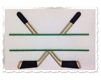 Split Hockey Sticks Applique & Filled Machine Embroidery Design - 4 Sizes