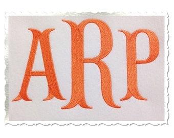 Large Fish Tail Machine Embroidery Font Monogram Alphabet - 3 Sizes