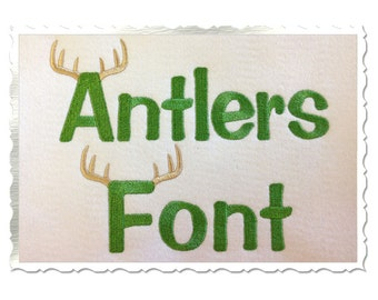 Antlers Alphabet Machine Embroidery Font Alphabet - 3 Sizes