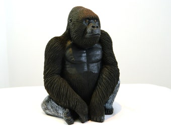 Amazing Silverback Gorilla Sculpture, Hand Crafted Ornament, Birthday Gift, Easter, Mother's Day