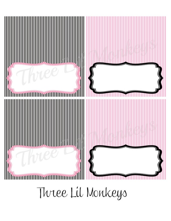 INSTANT DOWNLOAD- Pink and Black Food Label Tent Cards (PDF File)