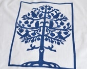 Flour Sack Dish Towel - Tree of Life: Red or Indigo or Green