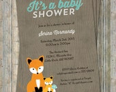 fox baby shower invitation, woodland fox baby, Digital, Printable file gender neutral