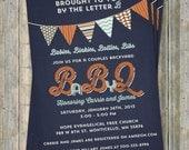 BABYQ baby shower invitation with banner, bbq baby shower, navy, aqua, orange digital, printable file