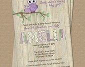 Purple Owl baby shower invitation with wood background, digital, printable file