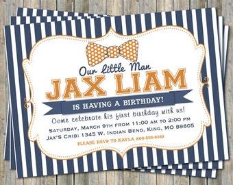 little man bow tie, orange and navy birthday party invitation, digital, printable file