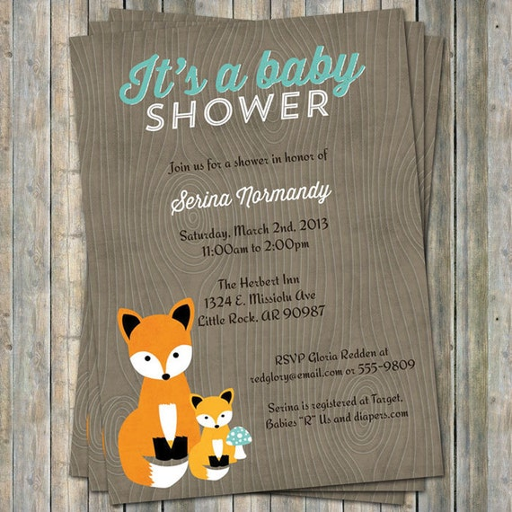 fox baby shower invitation woodland fox baby digital printable file
