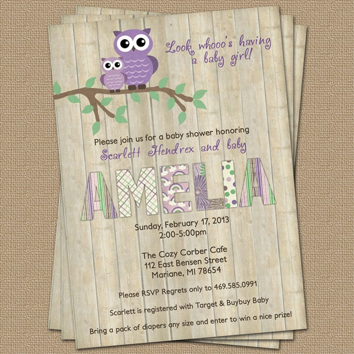 Purple Owl Baby Shower Invitation With Wood Background
