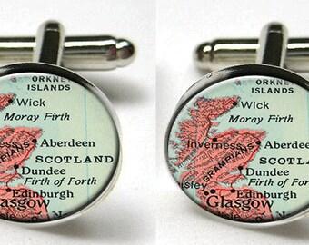 Silver Bezel CuffLinks Glass Round Scotland Map Trendy Groomsmen