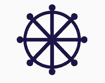 INSTANT DOWNLOAD Filled Ships Wheel embroidery design