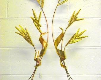 Hollywood Regency Gold Wheat Shef Wall Art - Set of 2