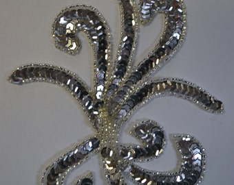 Silver Swirl Appliques Beads and  Sequins One piece