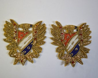 Gold Red White Blue Embroidered Appliques Set of 2