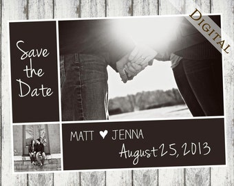 Brown Digital Save The Date : customizable, print yourself, your picture, hearts, wedding invitation, digital, printable, engagement, I