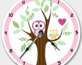 Wall clock MOD OWL Nursery art, Baby, Toddler, Girl, custom room decor