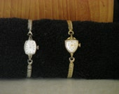 Vintage Bulova Ladies Watch Set - Rare Shield Shaped Bulova Watch- 1960's Set - Gold and White Gold Rolled Gold Plate