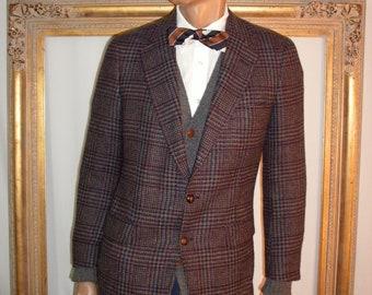Vintage 1980's Clubfellow Black/Grey Plaid Wool Sportcoat - Size 40