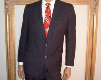 Vintage 1970's Pierre Cardin Navy Blue Pinstripe Wool Suit - Size 42