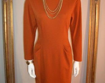 Vintage Albert Nipon Burnt Orange Wool Dress - Size 6