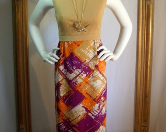 CLEARANCE Vintage 1970's Solid/Print Sleeveless Dress - Size 8