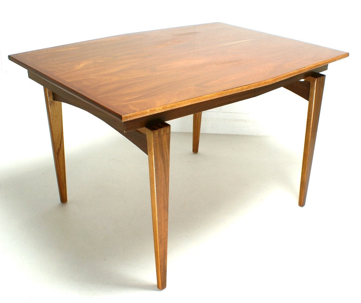 Mid century modern danish teak dining table expandable leafs for Mid century modern dining table
