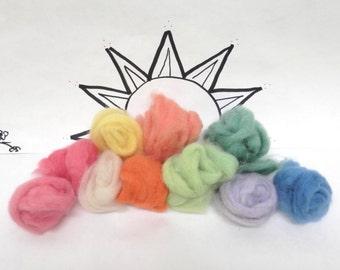 Hand dyed alpaca roving in spring shades, Wooly Buns Alpaca, 1 ounce assortment, alpaca roving sampler. pastel alpaca, pastel shades