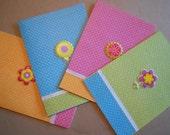 Flower springtime summertime stationery, set of 4 notecards, blank inside