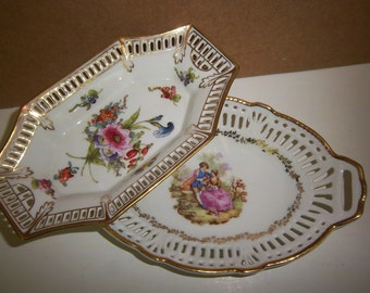 Vintage Porcelain Handpainted Decorative Dishes w/ gold trim & floral design or lover's courting made in Germany