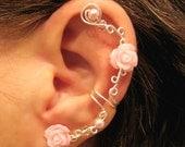 "Non Pierced Ear Cuff  ""Pearls & Roses"" Cartilage Conch Cuff Silver tone Prom"