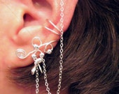 No Piercing Sterling Handmade Bajoran Style Ear Cuff with Chain Cartilage, Helix, Conch