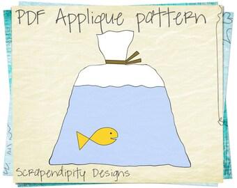 Fish Shirt Applique Pattern - Fish Scrapbook Design / Sewing Pattern / Fish Quilt applique Template / Card Design / Toddler Applique AP38-D