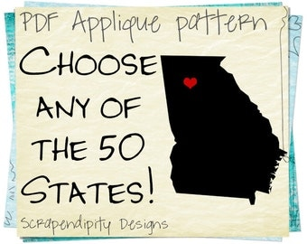 State Applique Pattern - Georgia Heart Applique Template / Baby CA Outfit / New Jersey Tee / Utah Shirt / VT Baby Clothing / Ohio Kids Shirt