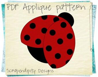 Ladybug Applique Template - Spring Applique Pattern / Girls Ladybug Shirt / Nursery Garden Quilt Pattern / Kids Boutique Clothes AP201-D