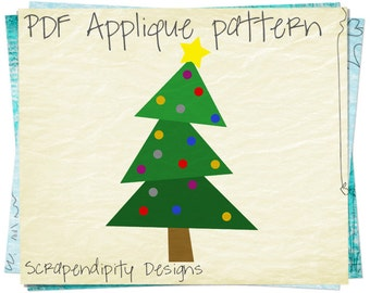 Christmas Tree Applique Template - Christmas Applique Pattern / Holiday Shirt / Christmas Tshirt Toddler / Kids Quilt Pattern AP138-D