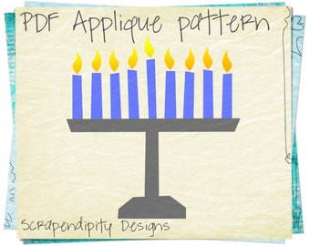 Menorah Applique Template - Hanukkah Applique Pattern / Menorah Shirt Design / Chanukah Baby Clothing / Kids Menorah Quilt / Iron on AP139-D