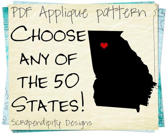 State Applique Pattern Georgia Heart Applique Template