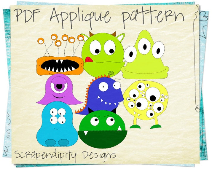 Applique Pattern Bundle 8 Alien Monster Templates D
