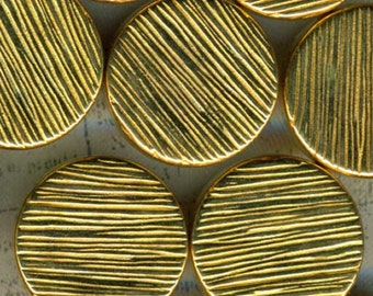 Lot Set of 36 Gold Sewing Buttons 5/8 inch 15mm Mod Streaky Lines