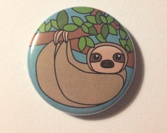 Sloth Pinback Button Badge or Magnet 3.5cm