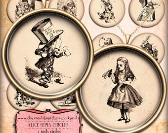 Alice in Wonderland Sepia 1 inch circles, digital collage sheet,  for pendants, magnets, scrapping, craft supply.